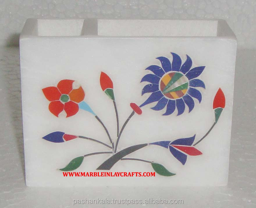 White Marble Inlay Decorative Pen Stand