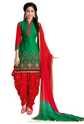 Attractive Red And Green Color Cotton Unstitched Traditional Punjabi Patiala Salwar Suit