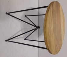Wooden Top Side Table with Metal Stand
