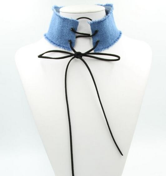 New Denim Jeans Choker Wholesale Cheap Denim Choker Necklace Stock