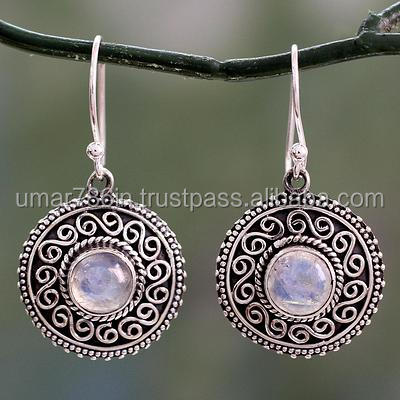 falak gems Rainbow Moonstone Earrings Silver Accents, Moonlight Mandala earrings