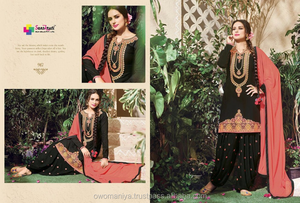 embroidered cotton patiala salwar suit