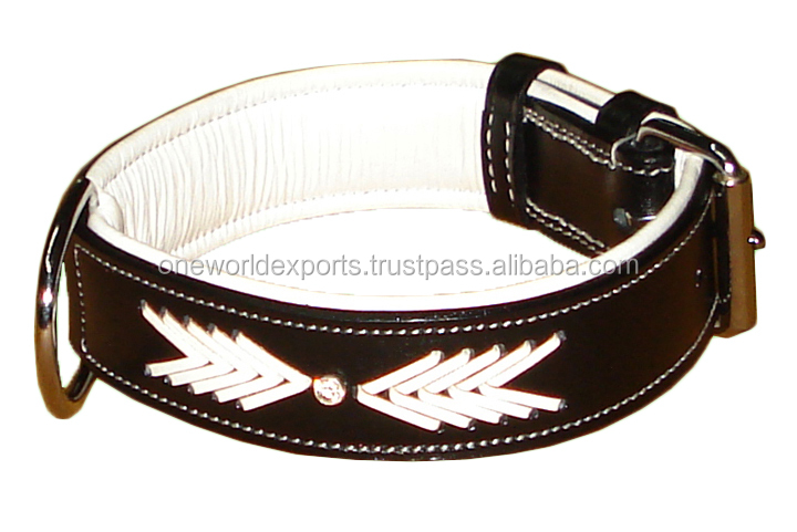 Harness Leather Collar with Braiding and Rhinestones