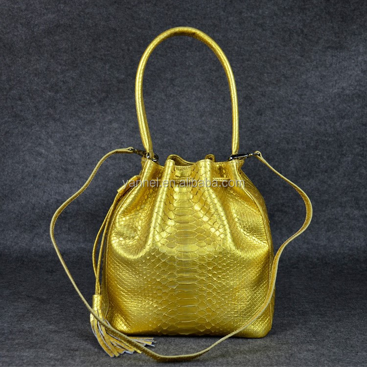 lady python Bucket bag#everyday hand bags#gold