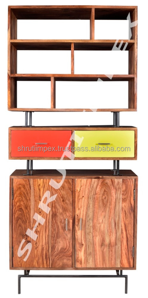 Wooden Shelving Indian Handmade Drawer Chest Furniture Unit With Metal Legs BookShelf