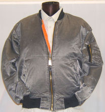 Simple polyester satin bomber jackets\Customized 100% Polyester grey bomber jacket\plain design nylon shinny jacket