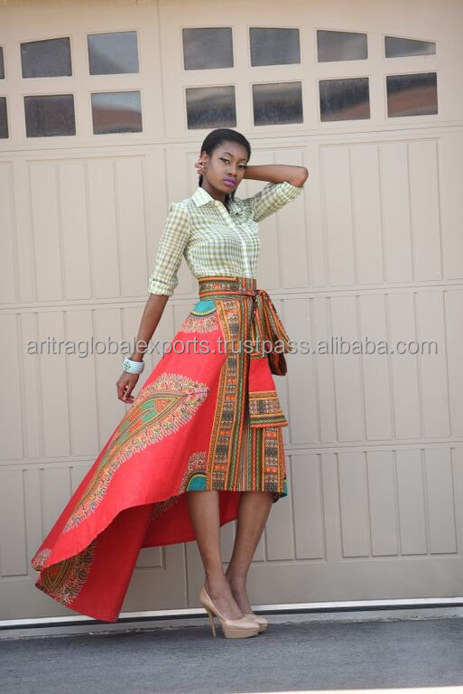 African Print Skirt Red Dashiki skirt, African clothing