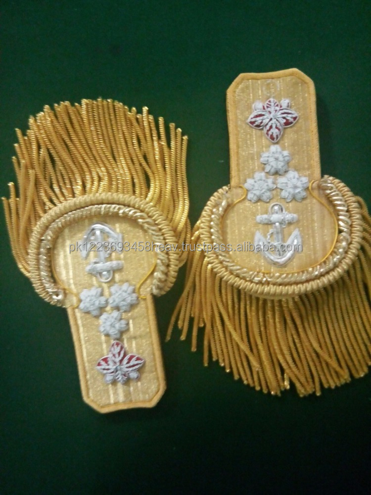 Braid Epaulette Shoulder boards Bullion Braid Epaulette Military Uniform Navy Officer Shoulder Board Gold Bullion Wire Cord