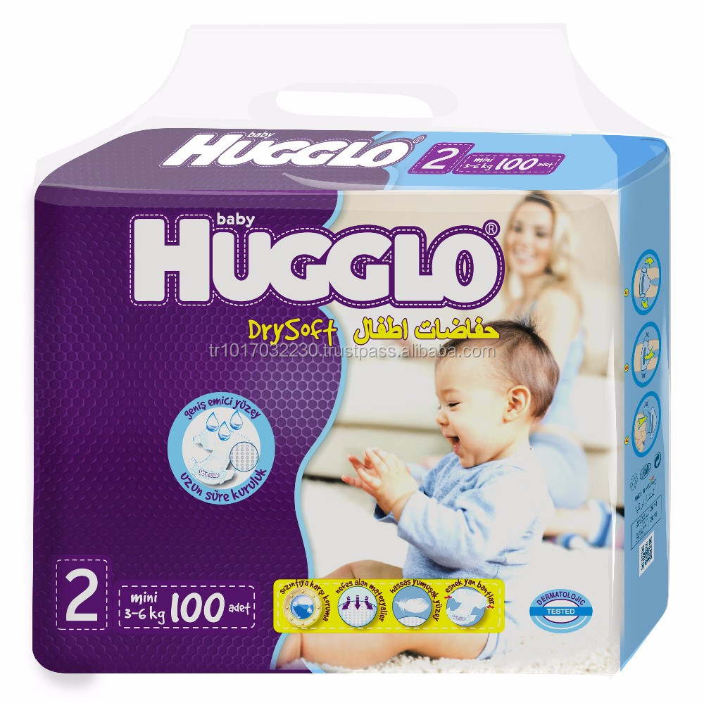 jumbo Pack 100 pcs Mini Size Hugglo Baby Dispossable Diapers from Turkey