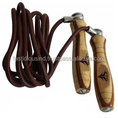 Cheap Custom Leather Speed Skipping Rope Bodybuilding/ Fitness Boxing Jump Gym/ Jumping Rope to lose weight With Wooden Handle