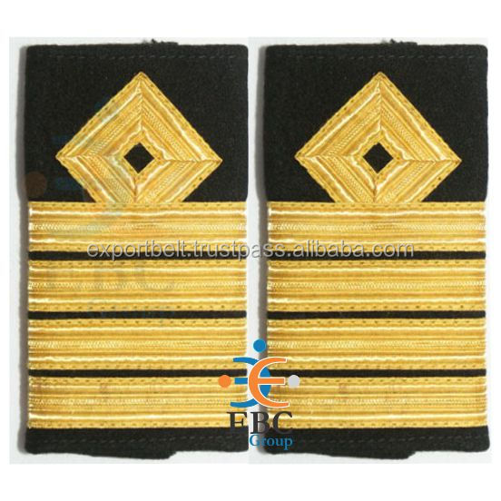 Epaulette Merchant Navy & Roayl Navy Ranks | Army Epaulettes | Military Uniform Epaulettes with Gold Metallic French Braids