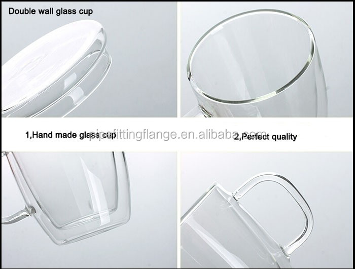 Low Price Colorful circle double wall glass cup for hot selling