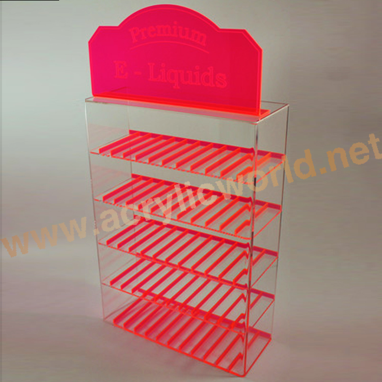 Custom 5 layer acrylic material E liquid display rack /multi divides display stand with sign