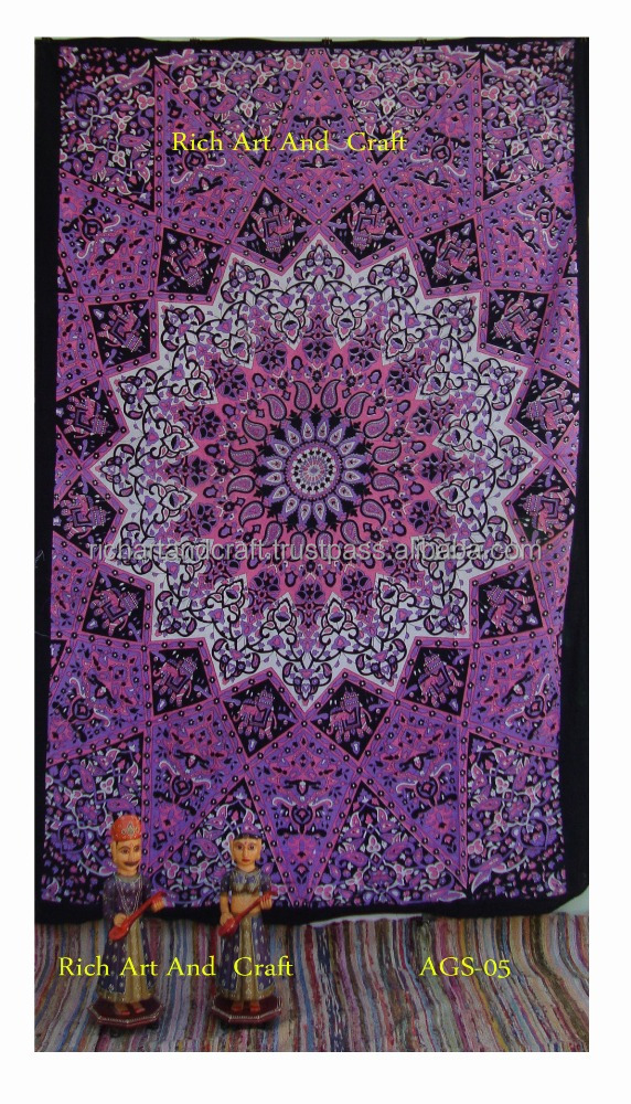 Twin Bedspread Cotton Printed Single Dorm Bed Cover Tapestries Indian Elephant Tapestry