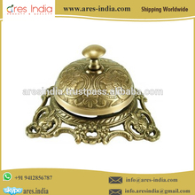 Professionally Designed Elegant Antique Vintage Style Brass Wire Less Desk Bell for Sale