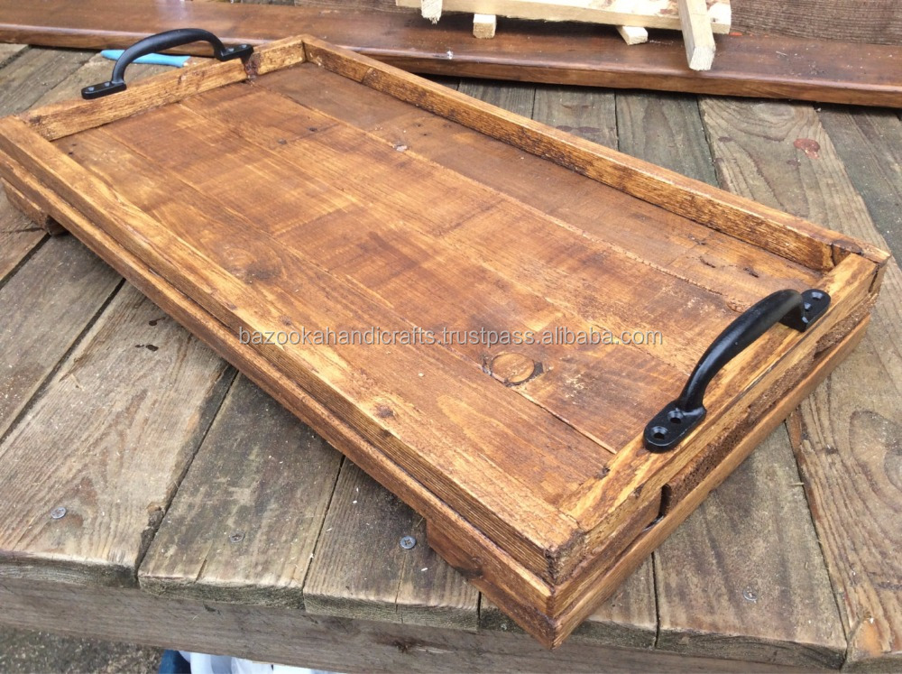 WOODEN TRAY, RECTANGULAR SERVING TRAY, WOODEN TRAY WITH METAL HANDLE