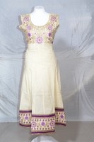 Cream & Purple Embroidred Long Cotton Anarkali Top