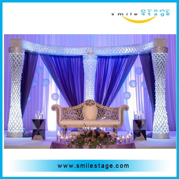 iron base pipe and drape with aluminum upright and crossbar for wedding