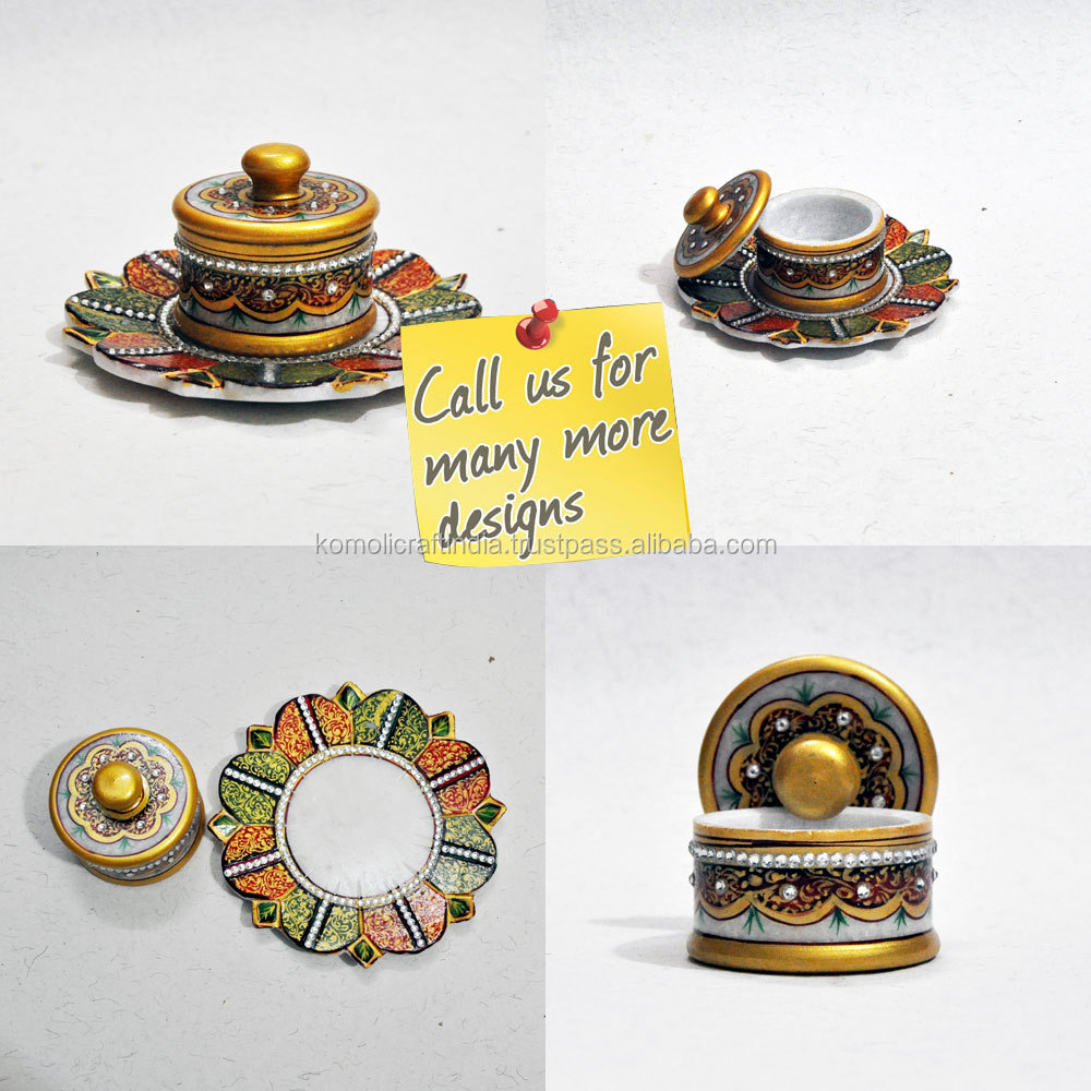 Stone Carving Marble Carving Handmade Handpainted Marble Tray With Dry Fruit Container with Embossed and Kundan work
