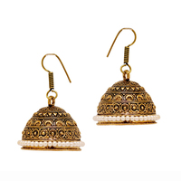 Wholesale Gold Plated Oxidized Big Jhumka Pearl Beads Earrings