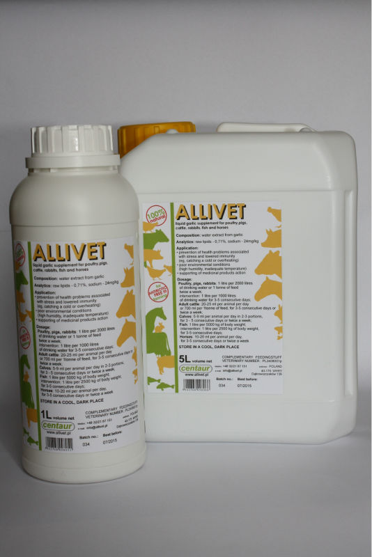 HEALTH PROMOTER ALLIVET - LIQUID GARLIC, 100% NATURAL, WATER-SOLUBLE FOR POULTRY, PIGS, CATTLE, RABBITS, FISH AND HORSES
