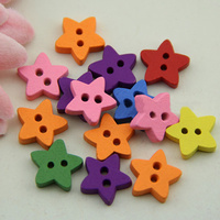 Wood Button Star ushwo 2-hole mixed colors 12.50x12.50x3.50mm Hole:Appr 1mm 2500PCs/Bag Sold By Bag