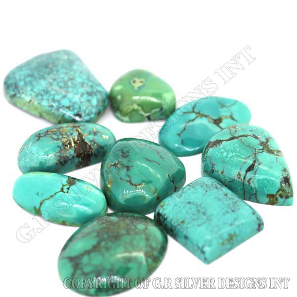 loose tibetan turquoise mix cabochon gemstones wholesale silver jewelry making stones