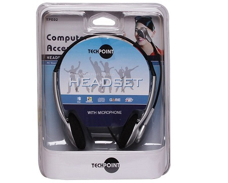 Headphone with Microphone with 20-16000Hz frequency response Techpoint TPE02