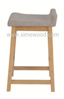 Wooden stool 24'', modern solid wood chair, upholstered stool