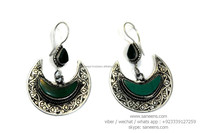 crescent shape afghan bridal jewelry earrings tribal fusion homemade earplugs wholesale bellydance jewellery supplier online