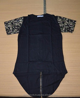 elongated t shirt with camo sleeves and long shinny zippers on both sides