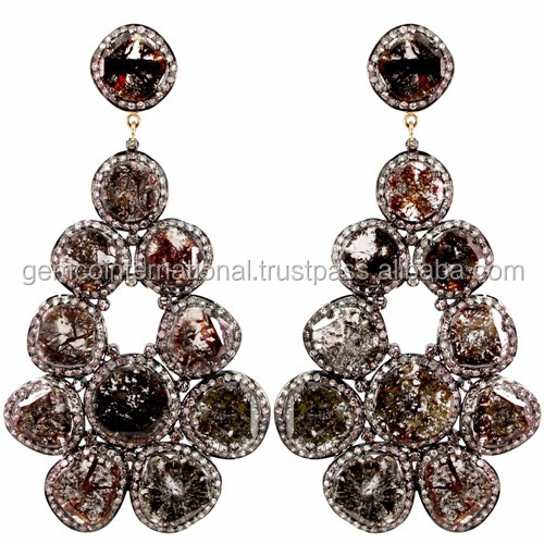 28.3ct Slice Diamond Dangle Earrings 925 Silver Jewelry Manufacturer
