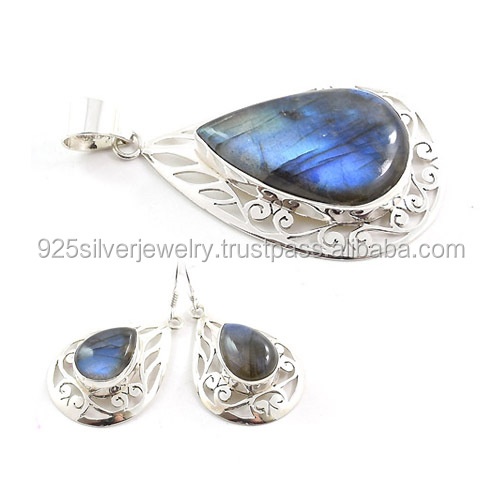 Labradorite jewellery 925 sterling silver jewelry sets Indian wholesale jewellery sets