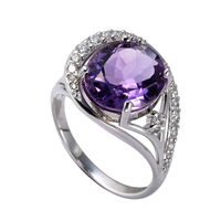 Thailand Silver Ring New Design Fashion Jewelry Amethyst 925 Sterling Silver Gemstone