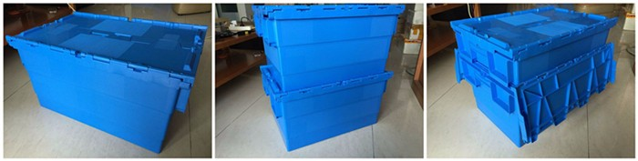 China heavy duty storage moving stackable plastic tote boxes with hinged lids