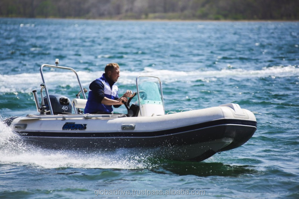 Rib Boat 400 Standard Stormline PVC fiberglass material console rigid inflatable outboard