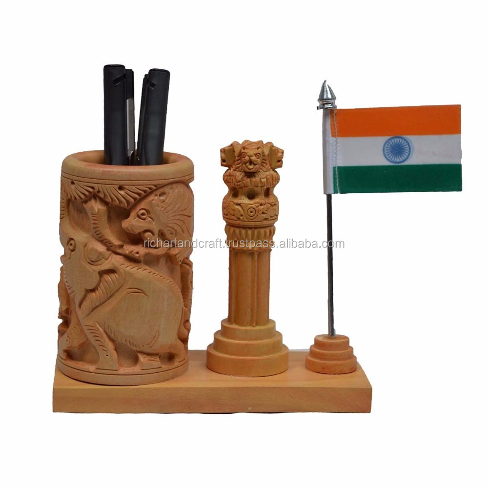 Jaipur Rajasthan Ashok sthamb Indian Flag Wooden Pen Stand Tableware