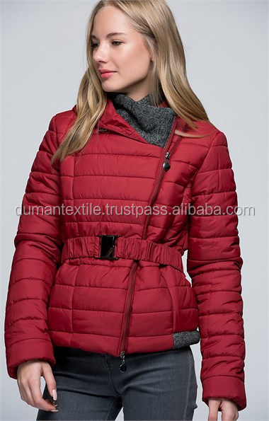 High Turk Quality Fabric Material Jacket Fashion Moda Waist Belted Claret Red Coat Jacket Outwear Sexy Wholesale Worldwide