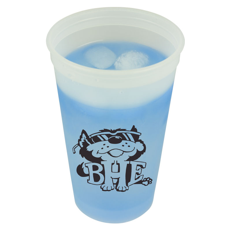 USA Made 20 oz Cool Color Changing Stadium Cup - changes color with ice cold liquids, BPA-free and comes with your logo
