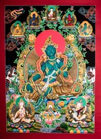 High Quality Gold Plated Green Tara Deity Thangka with 5 other deities