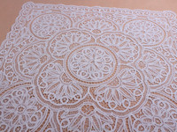 handmade embroidery table cloth handmade work Hand Cotton Vintage Full Battenburg Lace white table toppers