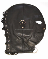 NEW 2015 BLACK BONDAGE FULL FACE MASK WITH 3 RINGS SOFT LEATHER MATERIAL