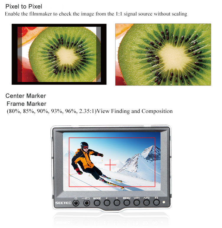 Small 5 inch portable screen SDI input and output sunshade readable mirror image histogram function monitor tv