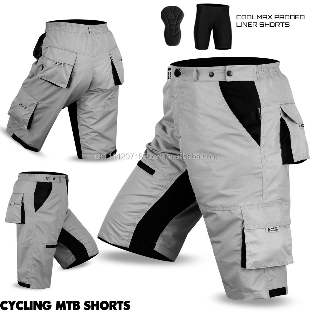 Mens MTB Cycling Shorts Off Road Cycle Bicycle Padded Liner Short Red All Sizes