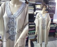 Cream Color Plane Silver Beaded Kaftan