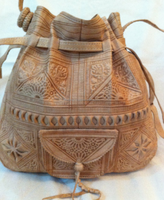 Stampped moroccan leather bag