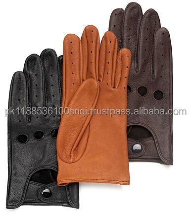 Custom Black Brown Thin Leather Driving Gloves
