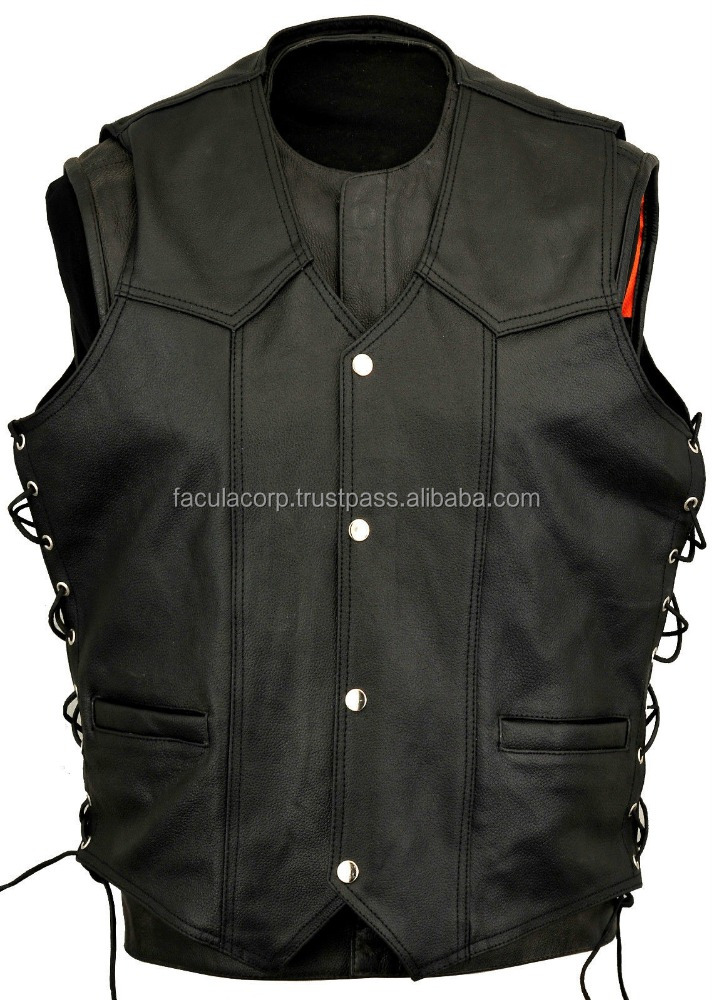 Mens Leather Fashion Vest Waistcoat Laced Sides Motorcycle Cruiser Top Vintage FC-7117