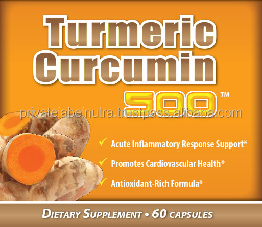 Private Label Nutritional Supplement 500mg TURMERIC CAPSULES