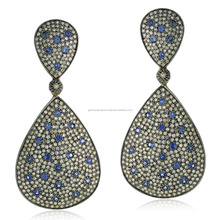 14k Yellow Gold Pave Set Diamond Blue Sapphire Drop Earrings Jewelry